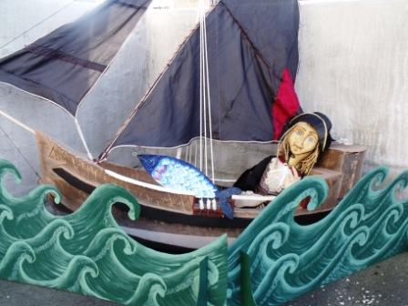 Sylvanus's pirate ship with toy theatre waves